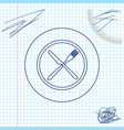 crossed fork and knife on plate line sketch icon vector image vector image