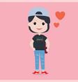 cute girl plump shape cartoon character dressed vector image vector image