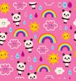 Cute panda bears rain drops rainbows and clouds