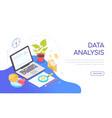 data analysis - modern colorful isometric web vector image