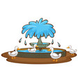 ducks and fountain on white background vector image vector image