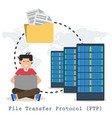 file transfer protocol concept with man folder vector image vector image