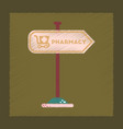 flat shading style icon pharmacy sign vector image vector image