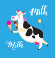fun with a cow and ice cream vector image