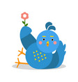 funny blue bird lying and holding flower cartoon vector image vector image
