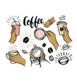 girl holding cup coffee or tea in her hands vector image vector image