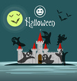 Greeting card or invitation Halloween Silhouette vector image vector image