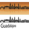 Guadalajara skyline in orange vector image vector image