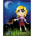 Halloween pirate girl in the cemetery vector image vector image