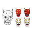 hanya mask evil ghost face in flat vector image vector image