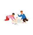happy funny male kid playing together painting vector image vector image
