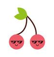 kawaii cherry cartoon vector image