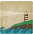 lighthouse on cliff sea old background vector image