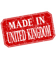 made in United Kingdom red square grunge stamp vector image vector image