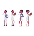 male and female black scientist standing vector image