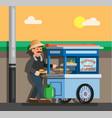 man selling baso tahu and batagor street food vector image vector image