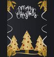 merry christmas hand drawn lettering golden trees vector image