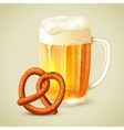 Mug of beer pretzel emblem vector image