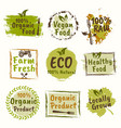 organic and healthy food set of emblems vector image vector image
