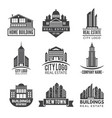 real estate logos and monochrome labels vector image