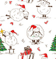Seamless pattern of the New Year sheeps vector image