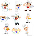 set cartoon chef on white background vector image vector image