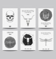 set modern gothic posters with human skulls vector image