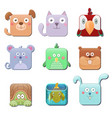 set of cute square animals dog cat parrot mouse vector image vector image