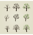 Set of different trees silhouette with roots and vector image vector image