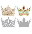 set of golden crown tiara diadem and vector image vector image