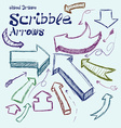 Set of scribble arrows hand-drawn on a light vector image vector image