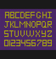 set of yellow knitted alphabet and numerals o vector image