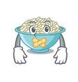 silent rice bowl mascot cartoon vector image vector image