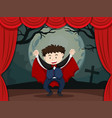 stage play with boy in vampire costume vector image vector image