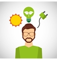 think green ecology icons vector image