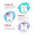 Tooth caries and healthy tooth concept vector image