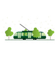tram surrounded nature tram lines in an urban vector image vector image