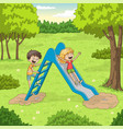 two children are playing vector image vector image