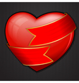 valentines day heart wrapped in red ribbon vector image vector image