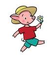 Walking little piglet vector image vector image
