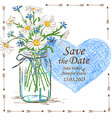 wedding invitation with mason jar and camomile vector image