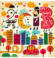 2013 cityscape hand drawn vector image vector image