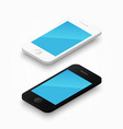 3d white and black colour smartphone vector image