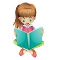 A young girl reading a book seriously vector image vector image
