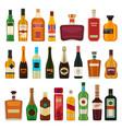 alcohol drinks in bottles flat whiskey liquor vector image