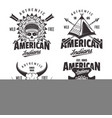 american indians set four vintage emblems vector image