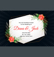 attractive wedding card design with flower vector image vector image