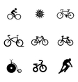 bicycle icons set vector image vector image