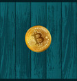 bitcoin coin on wooden texture vector image vector image