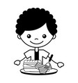 boy with dinner sandwich and bacon vector image